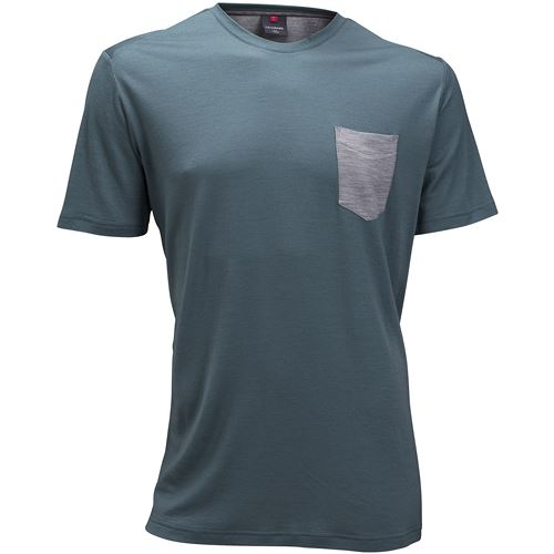 Summer Wool tee w/pocket Ms North Sea/Grey Melange