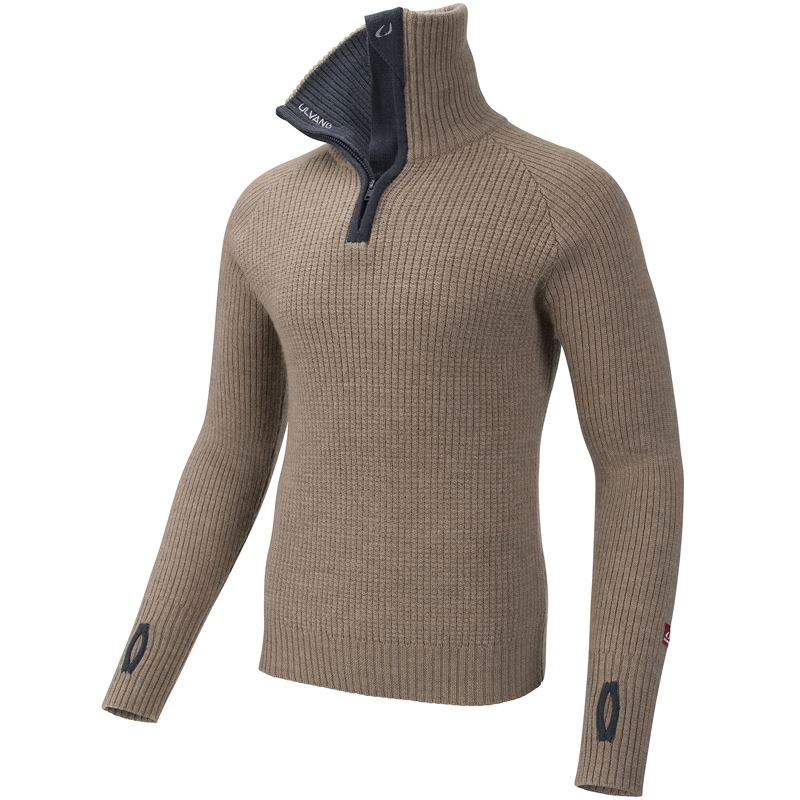 Rav sweater w/zip Sand Melange/Granite