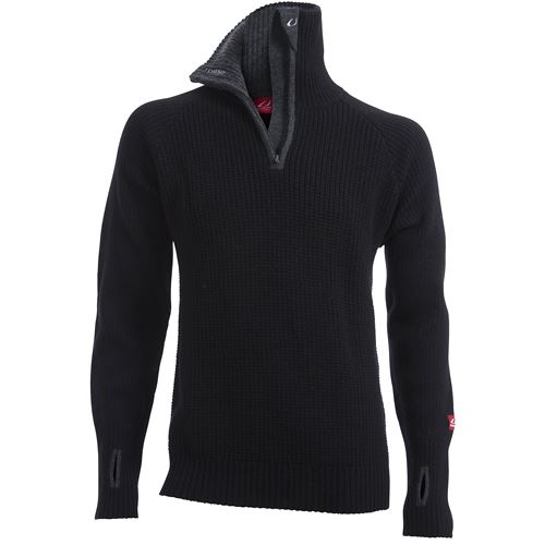 Rav sweater w/zip Black/Charcoal Melange