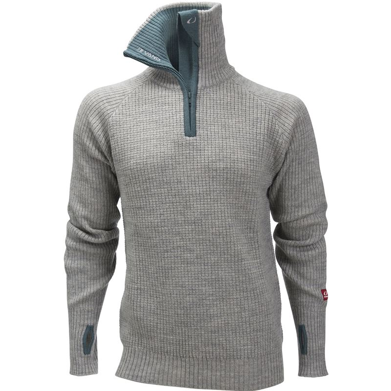 Rav sweater w/zip Grey Melange/North Sea