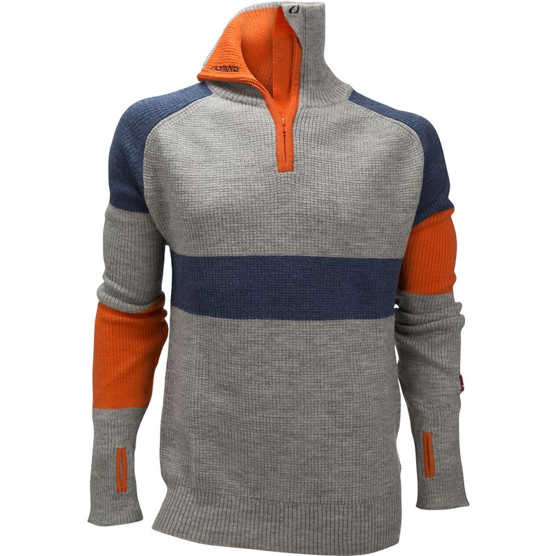 Rav limited sweater w/zip Ms Grey Melange/Navy Melange/Coral Rose