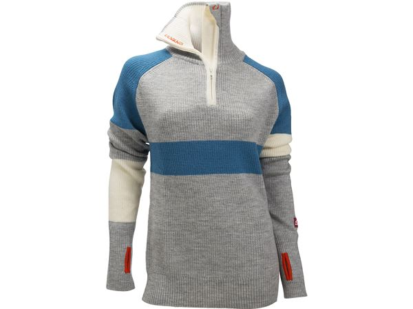 Rav limited sweater w/zip Ws Grey Melange/Mosaic Blue/Vanilla